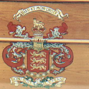 E.C.J.S. Heraldry on Teak Coach.