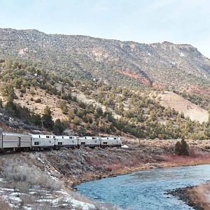 Amtrak's California Zephyr in Rocky Mountains