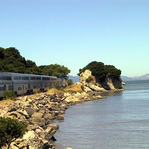 Rounding the San Francisco Bay on the Coast Starlight