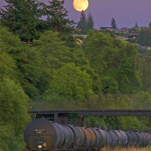 Moonrise over Tank cars
