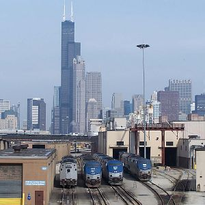 The Chicago Skyline looks over P42s