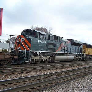 The Western Pacific heritage engine heads though Elmhurst