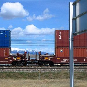 Two swoosh intermodal cars