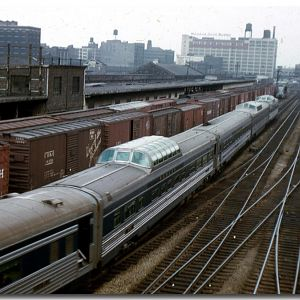A Wabash Passenger Train arrives in Chicago in the mid 50's
