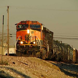 BNSF 1006 leading a DPU manifest train through Fullerton, California