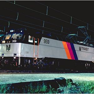 NJ Transit E60 at night