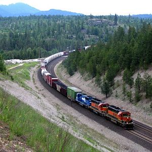 Westbound BNSF train near Hauser, Idaho