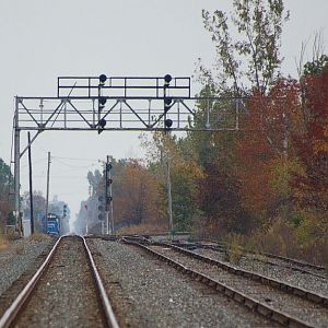 Conrail waiting for CSX to pass at Ridgeway Ohio