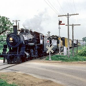 C&NW 1385 steam locomotive on ''Prosperity Special'' near Oregon, WI