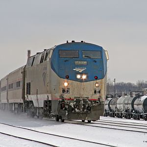 Amtrak #127 rolls through Botsford Yard Kalamazoo, MI