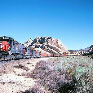 Southern Pacific on the Cutoff - Mormon Rocks