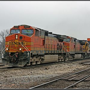 BNSF #5177  stack moved passed the depot in Joliet, IL