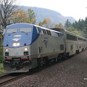 Amtrak #161 on the Eastbound Empire Builder near Skamania, Washington