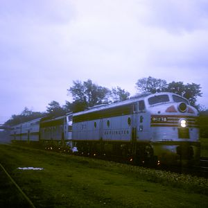 CB&Q E-8 #9943A, Naperville, IL, May 9, 1965, photo by Chuck Zeiler