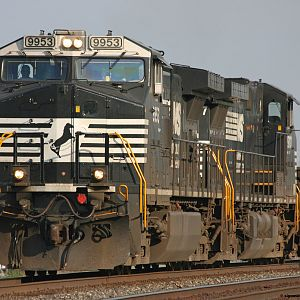 NS #9953 pulls a mixed freight as we wait on NS 4270