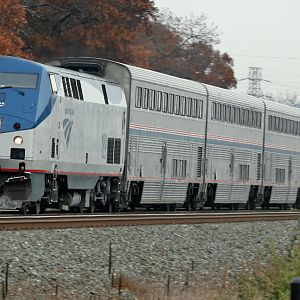 Amtrak PM P371 with the Private car Navy 118 in tow