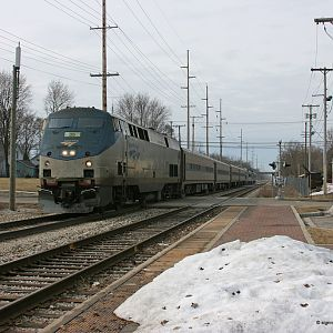 Amtrak 350 pulls into Dowagiac, MI what's on the end