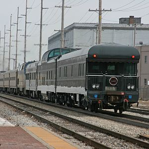 Amtrak 350 with 3 private cars pull out of Dowagiac