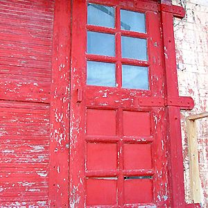 174746 - red door, old Frisco Station, Fayetteville, Arkansas