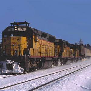 UP 26 leading an Interdmodal Train