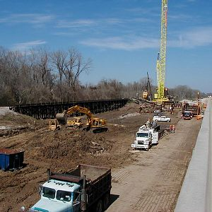 Trinity River Railroad Bridge Construction site along US 59