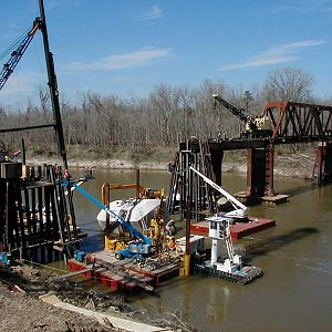 Trinity River Railroad Bridge Construction on Bridge