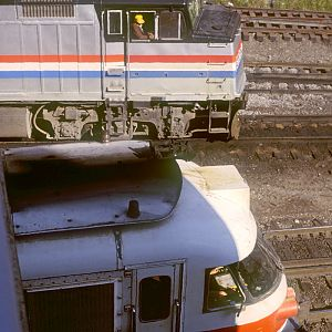 Amtrak 67 and 318, Chicago, IL, Sept. 1979, photo by Chuck Zeiler