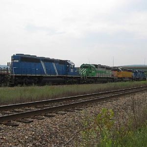Colorful lashup of lease diesels in Binghamton