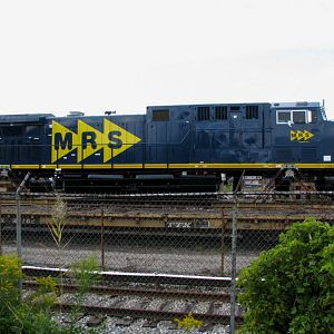 NEW MRS GE Locomotives on flat cars. Erie, PA. 9-7-2008
