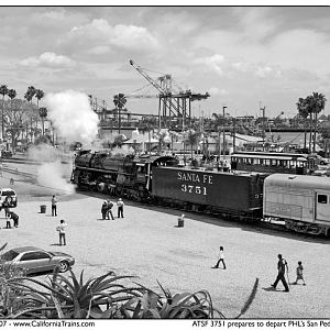 ATSF 3751 Steaming Up in San Pedro, CA