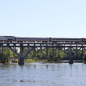 Amtrak 352 Wolverrine crossing the St. Joseph River Niles, MI