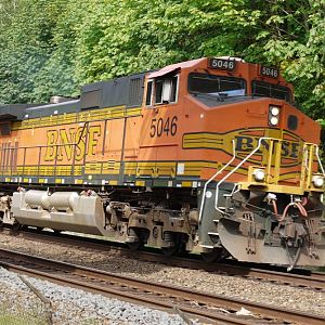BNSF 5046 leads the rock train.