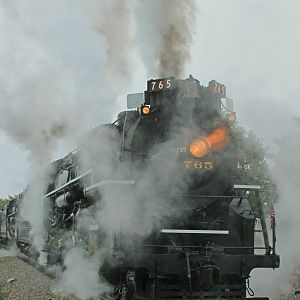 Pere Marquette 1225 and Nickel Plate Road 765