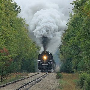 NKP 765 and PM 1225 fall tour Alma to Cadillac, MI