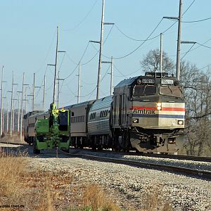 Track work stops as Amtrak 361 passes