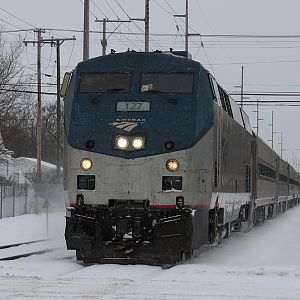 Amtrak 352  takes the siding in Dowagaic