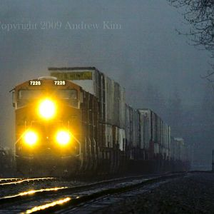 A Dark Misty Stop for this BNSF Z Train