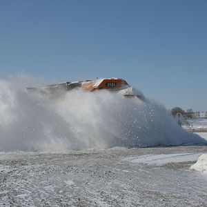 BNSF 2131 Hits a snowdrift at Neola, Iowa
