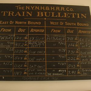 Old NH RR Bulletin Schedule Board