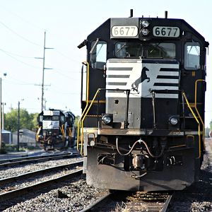 NS SD60 #6677 sit on yard at Harrington, DE