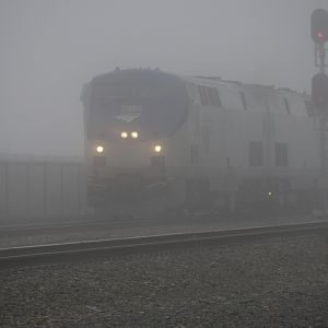 EMPIRE BUILDER thru the morning fog.