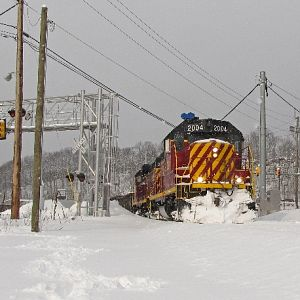 Allegheny Valley #2004 cuts through the snow in Glenshaw, PA