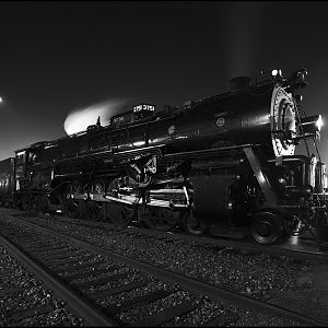 ATSF 3751 at Night Monochrome