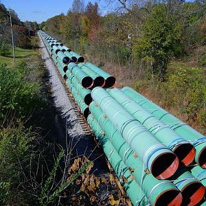 Pipe Train Stretched Out In Goodwater, AL