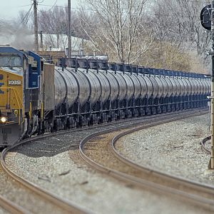 CSX train of tank cars
