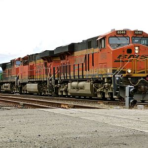 BNSF 6546 leads an Eastbound Stack train.
