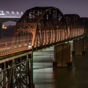 Westbound Illuminating the Benicia Bridge