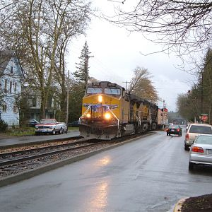 PNWR Eugene Hauler on Sixth Avenue in Corvallis, OR. - 02/12/2005